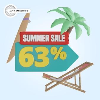 Promoção de verão 63 por cento de desconto 3d render
