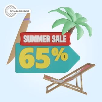 Promoção de verão 65 por cento de desconto 3d render