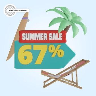 Promoção de verão 67 por cento de desconto 3d render