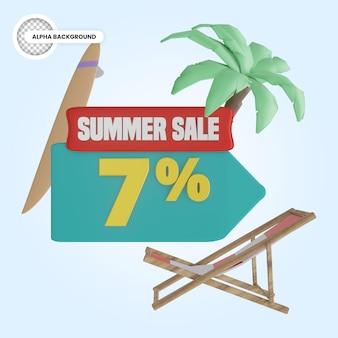 Promoção de verão 7 por cento de desconto 3d render