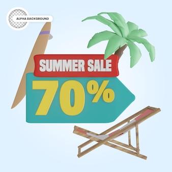 Promoção de verão 70 por cento de desconto 3d render