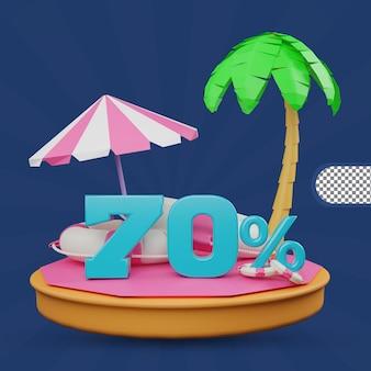 Promoção de verão 70 por cento de desconto oferta renderização em 3d