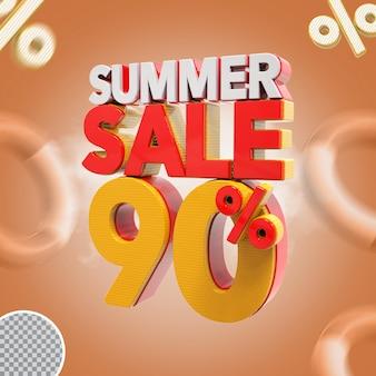 Promoção de verão 90% oferta 3d Psd Premium