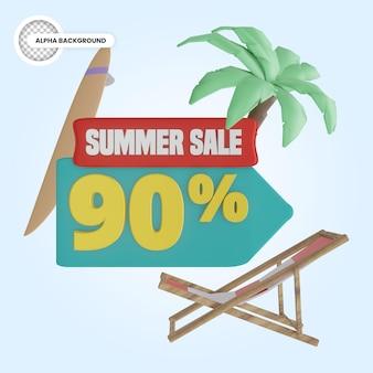 Promoção de verão 90 por cento de desconto 3d render