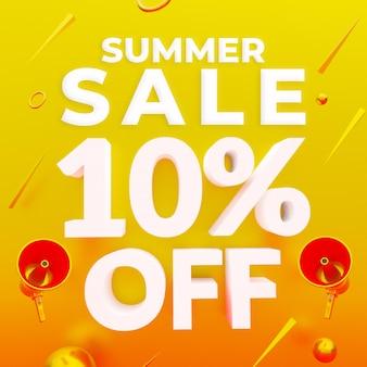 Promoção de verão com 10% de desconto no banner da web