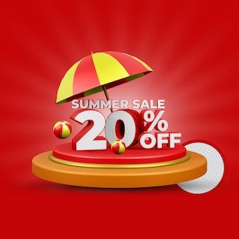 Promoção de verão com 20% de desconto na renderização 3d isolada