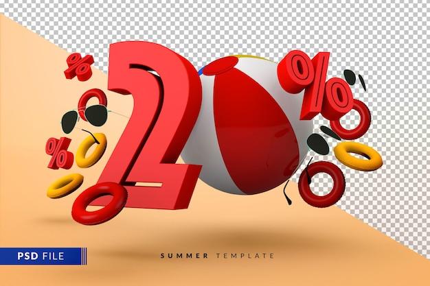 Promoção de verão com 20% de desconto promocional com acessórios de praia isolados