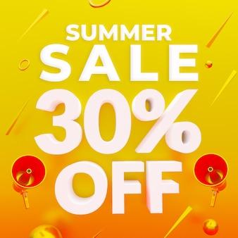 Promoção de verão com 30% de desconto no banner da web