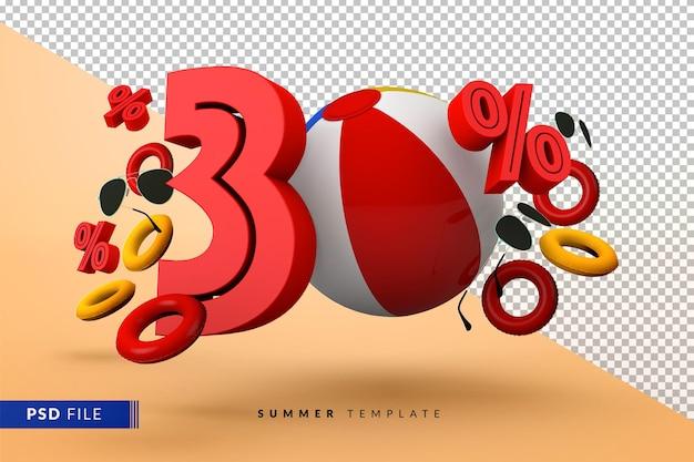 Promoção de verão com 30% de desconto promocional com acessórios de praia isolados