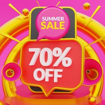 Promoção de verão com 70% de desconto em mídias sociais promocionais e modelo de postagem no instagram