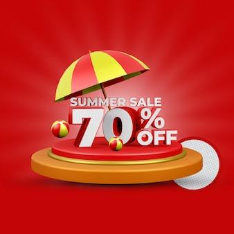 Promoção de verão com 70% de desconto na renderização 3d isolada premium