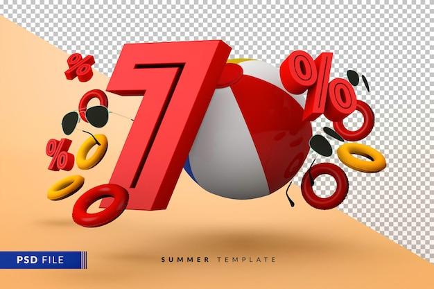 Promoção de verão com 70% de desconto promocional com acessórios de praia isolados