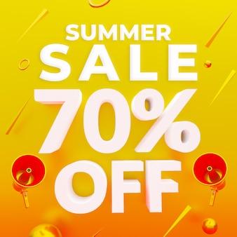 Promoção de verão com 70 por cento de desconto no banner da web