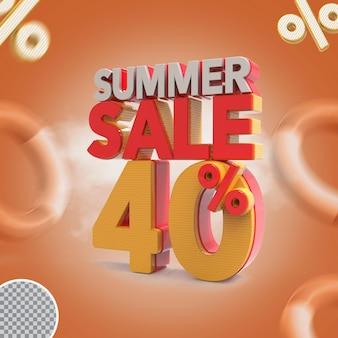 Promoção de verão de 40 por cento da oferta 3d