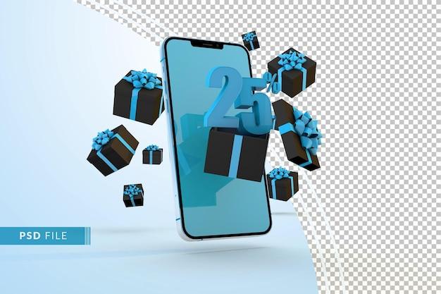 Promoção digital com 25% de desconto na promoção digital de segunda feira virtual com smartphone e caixas de presente