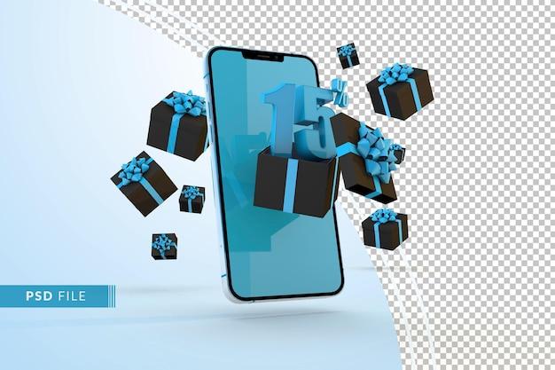 Promoção digital da cyber monday com 15% de desconto em smartphones e caixas de presente