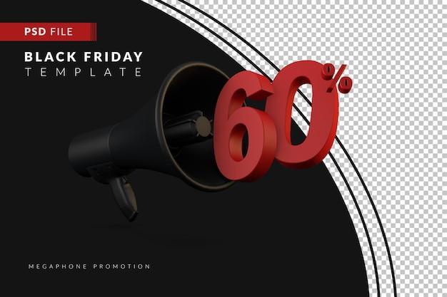 Promoção do megafone preto com 60% de desconto em um conceito de venda 3d na sexta-feira negra
