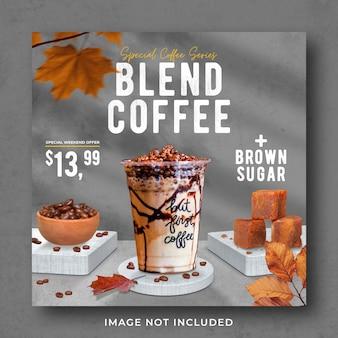 Promoção do menu de bebidas da cafeteria nas redes sociais modelo de pós-banner do instagram