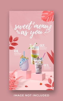 Promoção do menu de bebidas do dia dos namorados mídia social modelo de banner de história do instagram