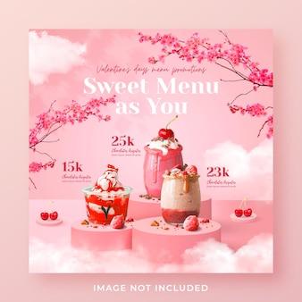 Promoção do menu de bebidas do dia dos namorados mídia social modelo de banner de postagem do instagram