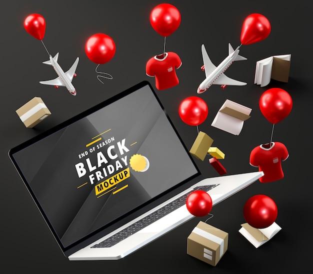 Promoções especiais de tecnologia e balões com fundo preto