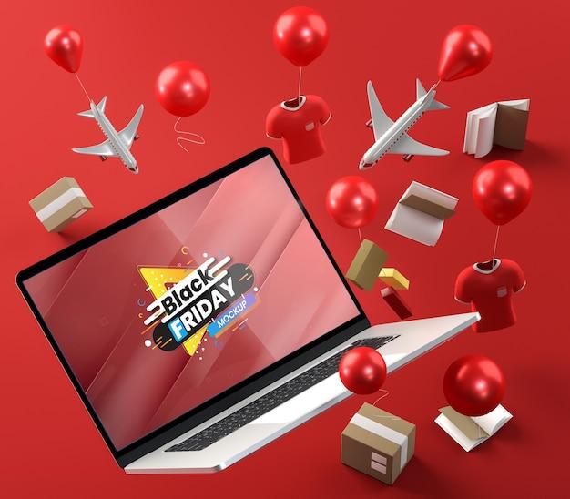 Promoções especiais de tecnologia e balões com fundo vermelho