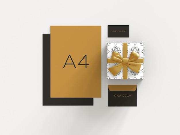 Pronto para usar maquete de marca de papelaria com vista superior da caixa de presente