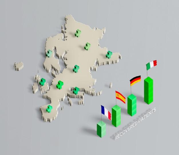 Propagação de mapa de coronavírus da união europeia