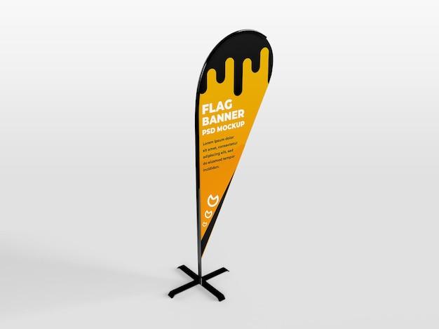Propaganda de banner vertical de bandeira de penas arredondadas realista e maquete de campanha de branding