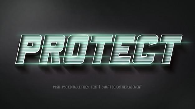 Proteger a maquete de efeito de estilo de texto 3d