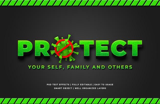 Proteger o efeito de estilo de texto 3d do vírus corona