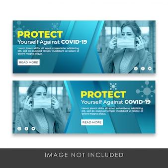 Proteja-se banner covid-19 coleção premium template psd