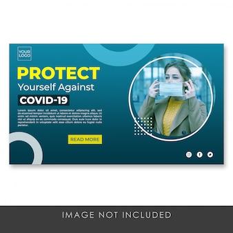 Proteja-se banner página de destino modelo azul premium psd