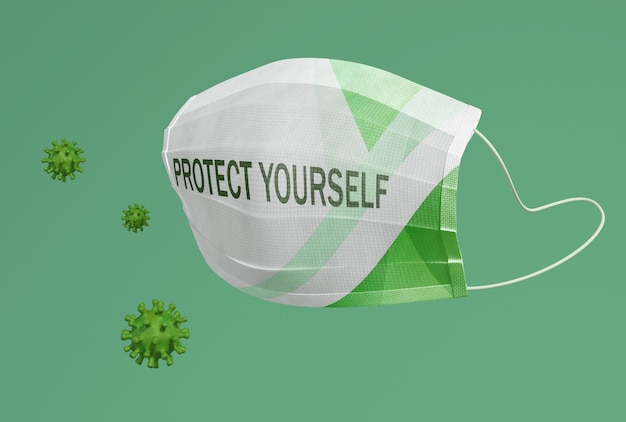 Proteja-se texto na máscara
