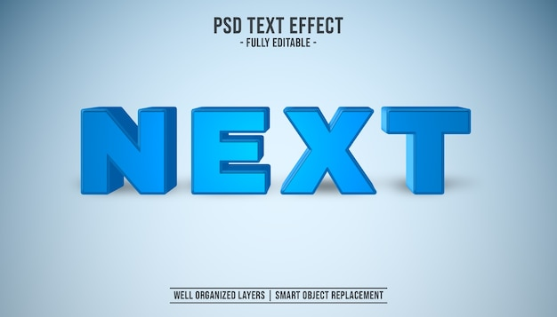 Próximo efeito de sistema de texto editável 3d