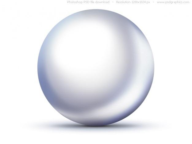 Psd brilhante branco pérola ícone