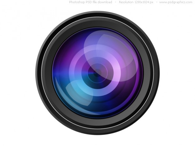 Psd câmera com lente ícone