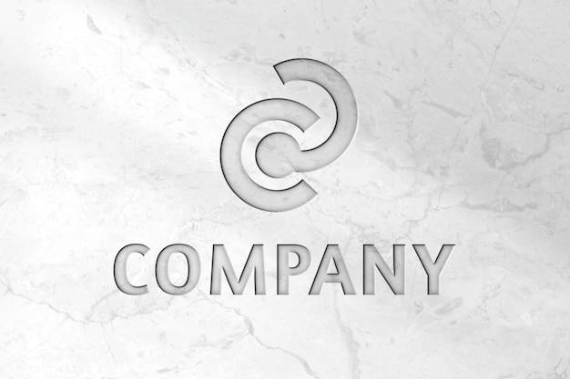 Psd da maquete do logotipo da deboss para a empresa