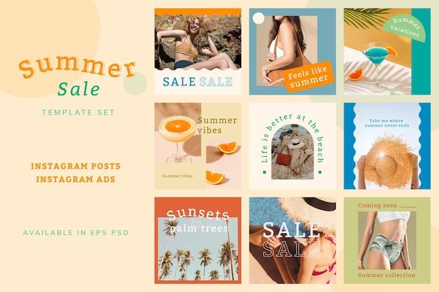 Psd de anúncio de promoção de verão definido para mídia social