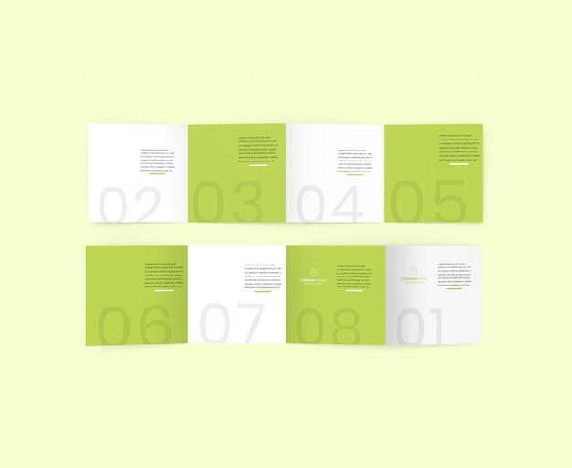 Psd de maquete de brochura quadrada de 4 dobras