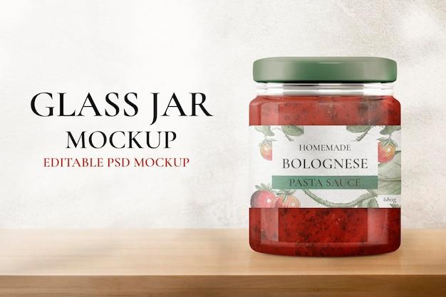 Psd de maquete de frasco de vidro, embalagem e branding de produtos alimentícios