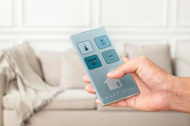 Psd de maquete de tela de smartphone com aplicativo de casa inteligente