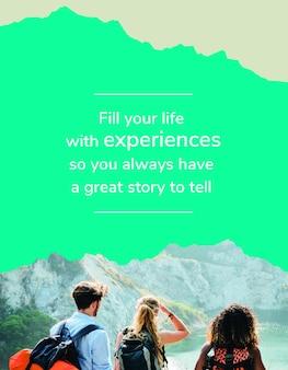 Psd de modelo de folheto de aventura ao ar livre para agência de viagens