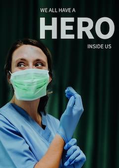 Psd de modelo de pôster de saúde hero com texto editável