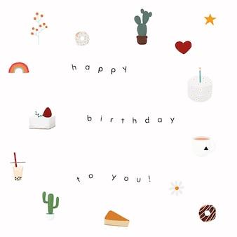 Psd de modelo de saudação de aniversário online com bolo fofo e moldura de cacto
