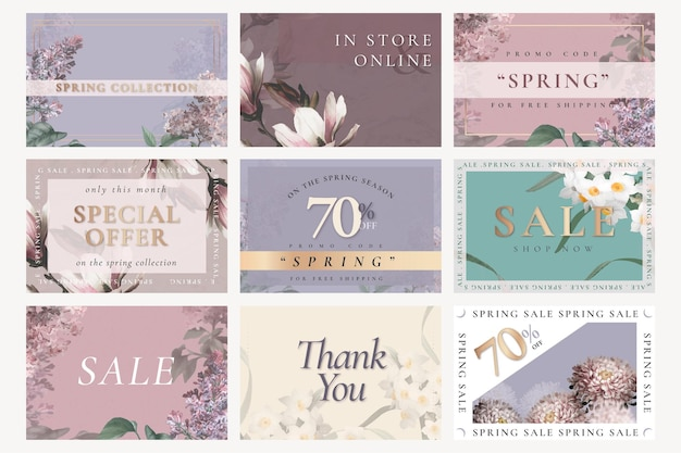 Psd de modelo de venda de primavera para conjunto de postagens de mídia social