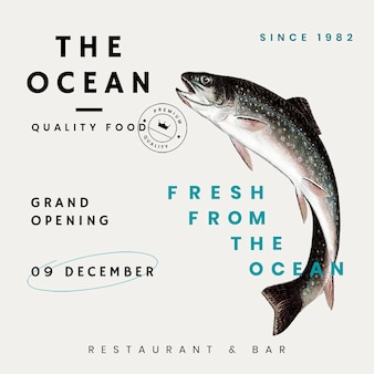 Psd de modelo vintage de mídia social para restaurante, remixado de obras de arte de domínio público