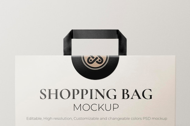 Psd editável de maquete de sacola de compras de papel