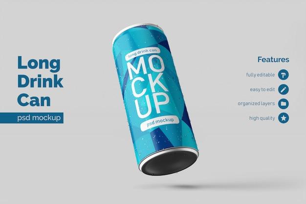 Psd editável de modelos de design de maquete de lata de bebidas de alumínio longo esquerdo flutuante
