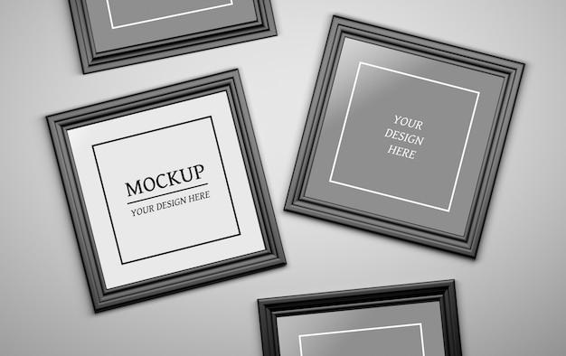 Psd editável mock up com quatro molduras de fotos em preto